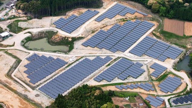 Part of a completed solar project on an old golf course in the Miyazaki prefecture, Japan. Photo: Kyocera