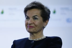Executive Secretary of the UN Framework Convention on Climate Change Christiana Figueres attends a Fossil Fuel Subsidy Reform Communique presentation during the COP 21 United Nations conference on climate change, on November 30, 2015 in Le Bourget, on the outskirts of the French capital Paris. More than 150 world leaders are meeting under heightened security, for the 21st Session of the Conference of the Parties to the United Nations Framework Convention on Climate Change (COP21/CMP11), also known as Paris 2015 from November 30 to December 11. AFP PHOTO / THOMAS SAMSON / AFP / THOMAS SAMSON (Photo credit should read THOMAS SAMSON/AFP/Getty Images)