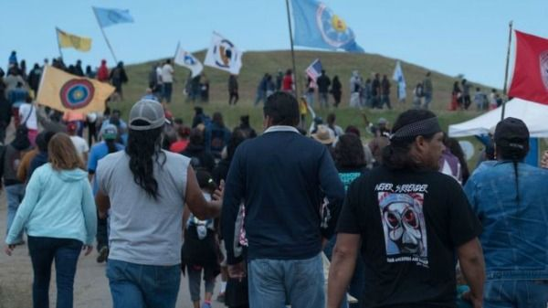 Native protesters at Standing Rock. Photo credit: C. Northcutt via the BBC